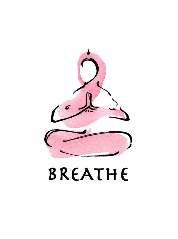 yoga art watercolor print  BREATHE by LindsaySatchell on Etsy #findyouryoga www.yogatraveltree.com