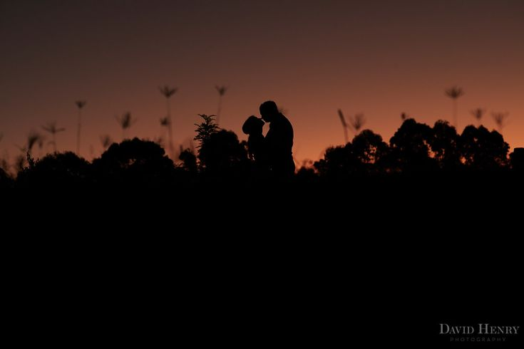 Silhouette of Bride and Groom in Wollongbar