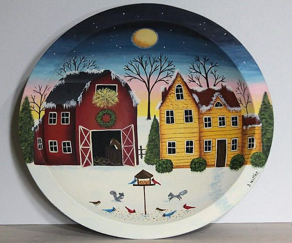 Winter Country Scene at Dawn Hand Painted Wood Bowl Red