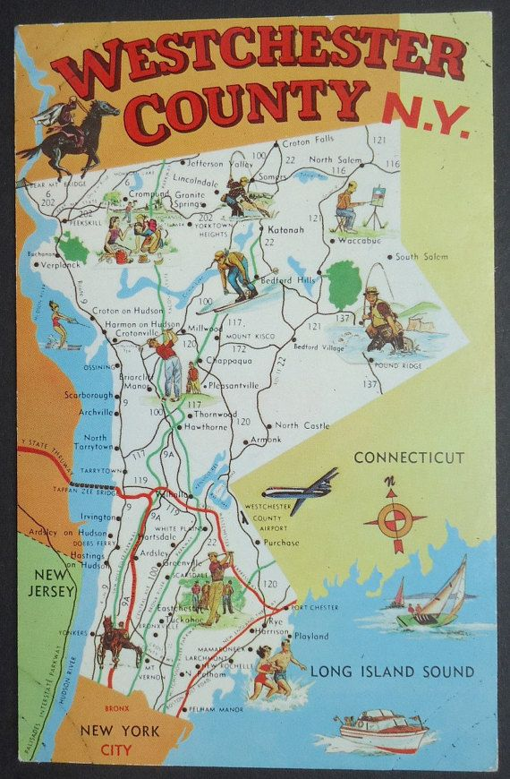 Map Of New York Tri State Area.Westchester County New York Vintage Postcard 1969 Map Card