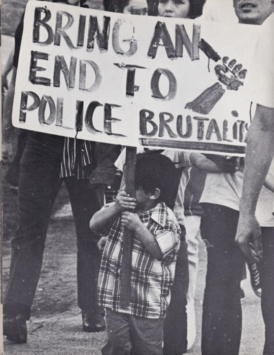 Vintage photo from a 1971 Chicano demonstration against police brutality in East Los Angeles.