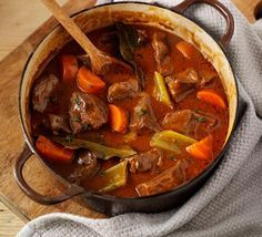 Beef & vegetable casserole. A traditional braised beef stew with thick, rich gravy - an ideal recipe for cheap cuts as slow-cooking guarantees a tender dish