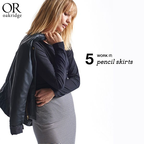 THE WINTER EDIT: Pencil skirt  Forever chic, the pencil skirt just works whether you're in the office or heading out to dinner.  Shop this look in-store and online now: http://www.mrp.com/jump/lookbooks/Oakridge-AW15/category/cat1530015?p=3&utm_source=Pinterest&utm_medium=post&utm_campaign=01_2015wk13_l_or_AW15_WinterEdit