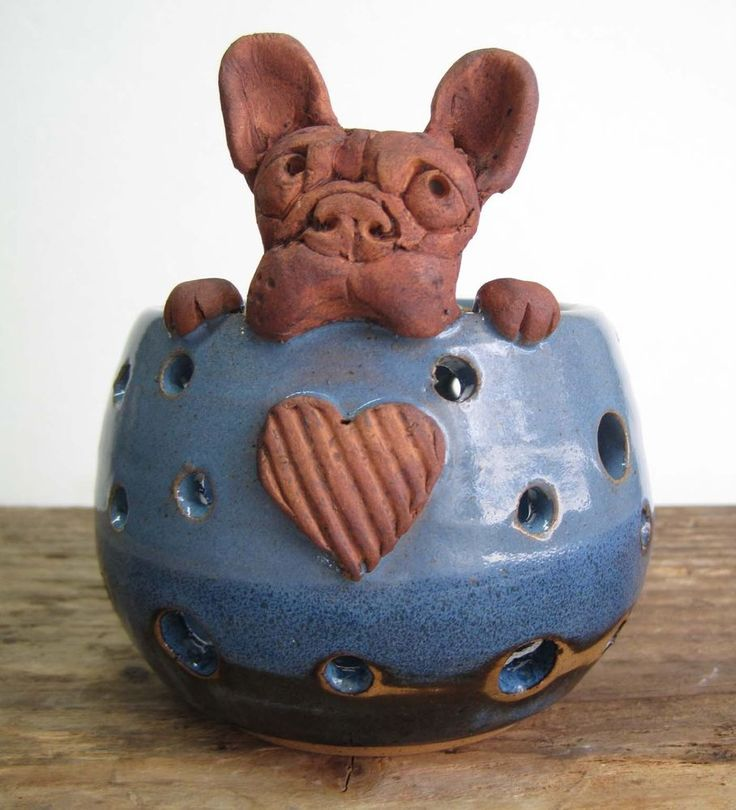 San Diego Bulldog Rescue: French Bulldog Heart Handmade Pottery Candle Burner