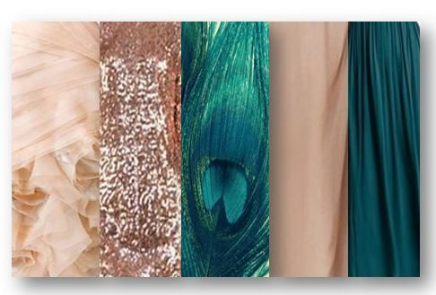 My wedding colours :-) Blush, rose gold, teal and nude with a touch of teal peacock feather detail.