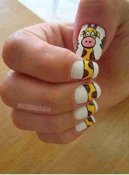 Giraffe nail art.