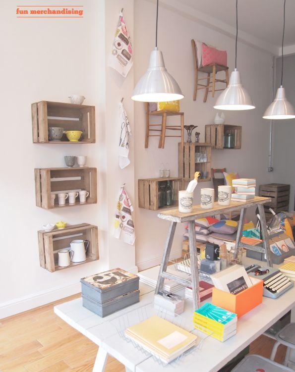 Merchandising: box & chair wall storage: Ideas, Shelf Idea, Retail Display, Box, Design