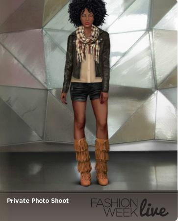 Favorite Snapshot Model is wearing:  -- Triple fringe cowboy boots  -- Lion shirt with rolled up sleeves  -- Ecru racerback tank top  -- Ebony short lapel leather jacket  -- Plaid fringe kerchief