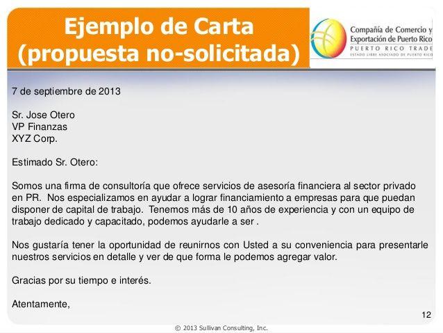 Ejemplo de Carta  (propuesta no-solicitada)  7 de septiembre de 2013    Sr. Jose Otero  VP Finanzas  XYZ Corp.  Estimado Sr. Oter...