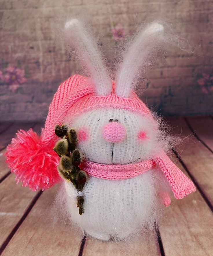Knitted Bunny with Willow bunch bunny Hand-knit Rabbit pink Amigurumi Bunny Miniature bunny Doll Stuffed Toy Bunny Plush bunny Easter decor by MiracleStore on Etsy