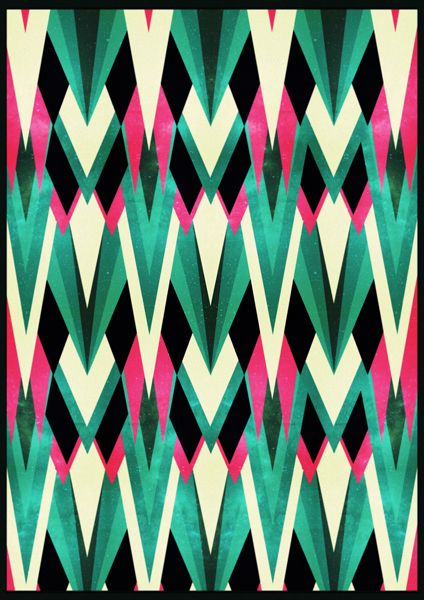 Is this tribal or art deco?  Or both?  Either way I like it. I could see using a streamlined version for DIY elements.  I can imagine a ceremony backdrop made of fabric or paper triangles all layered to create a pattern like this.