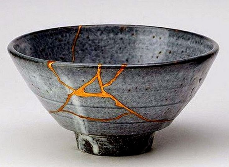 """Kintsukuroi"" is the art of repairing pottery with gold or silver joining the pieces and understanding that the piece is more beautiful for having been broken."
