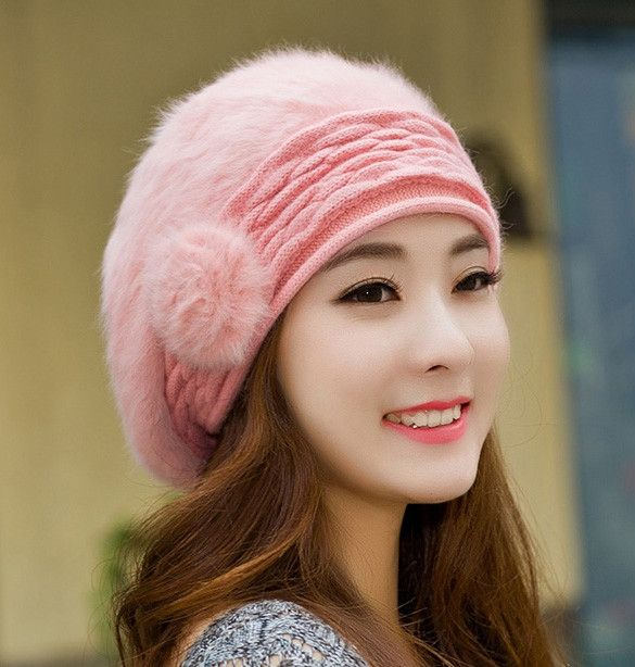 Womens Knit Winter Hat with Fur