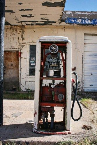 It took me a few minutes to realize the pump, not my camera and I, was off-kilter. In the nearly-abandoned Route 66 town of San Jon, NM.