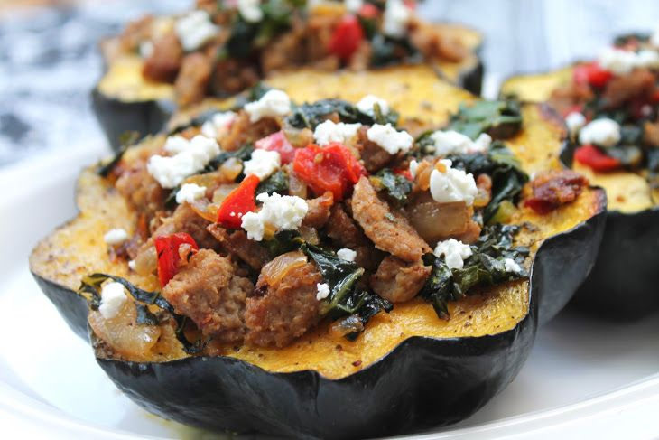 ... Roasted Acorn Squash, Stuffed with Turkey Sausage, Kale & Goat Cheese