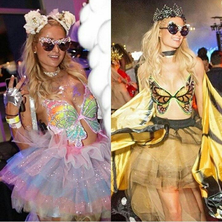 Paris Hilton rocked TWO butterfly bras from The Bouncing Bunny at Electric Daisy Carnival 2017! Monarch Butterfly Rainbow Swallowtail Rave Bras Festival fashion EDC outfit inspiration plurmaid glitter sequin holographic neon rave girls Unicorn
