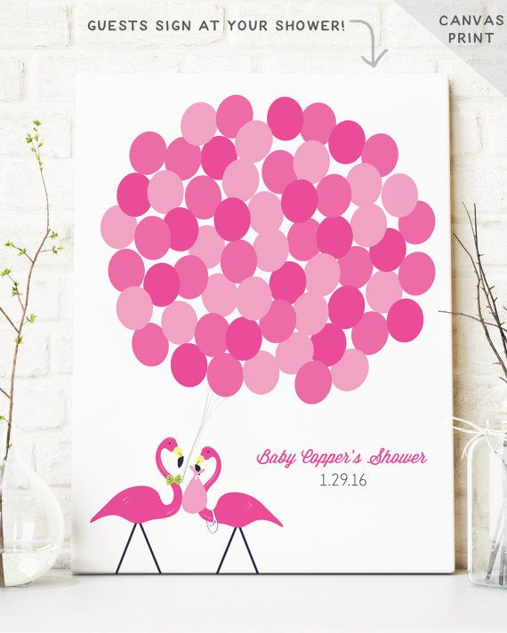 Flamingo Baby Shower Guest Book Alternative By MissDesignBerryInc