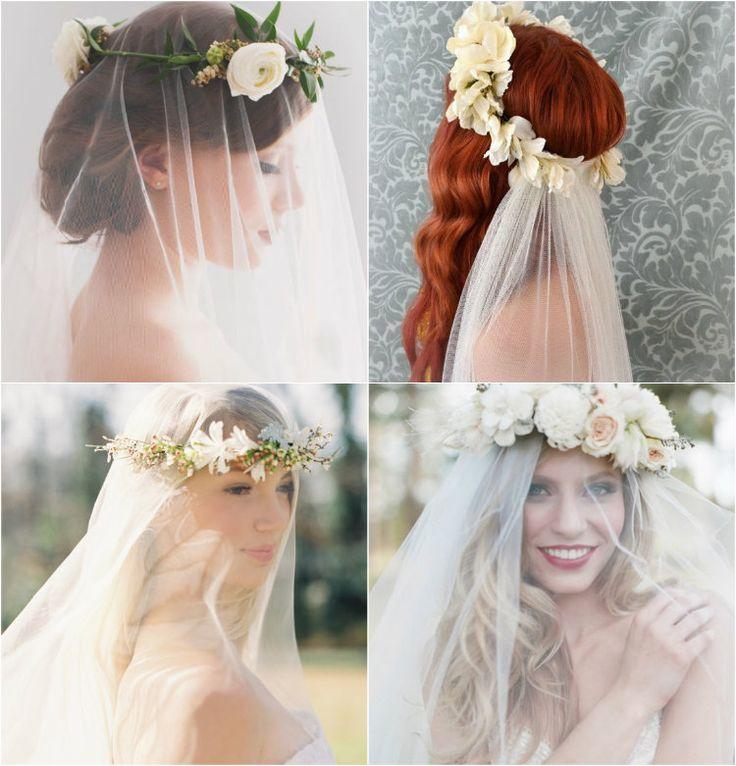 Coroa de flores e véu