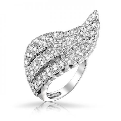 Silver Tone Pave CZ Diamond Angel Wing Cocktail Ring