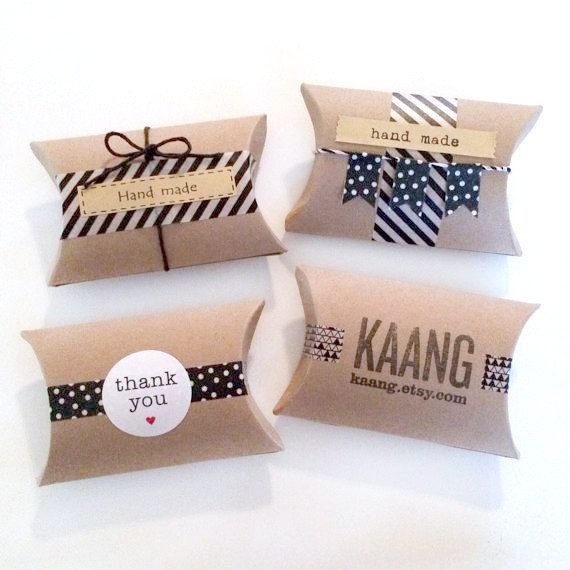 this listing is for 18 blank kraft pillow boxes. (see last photo)    size: 3.5 x 3 x 1 (8.9cm x 7.6cm x 2.5cm)      * the first three images are just