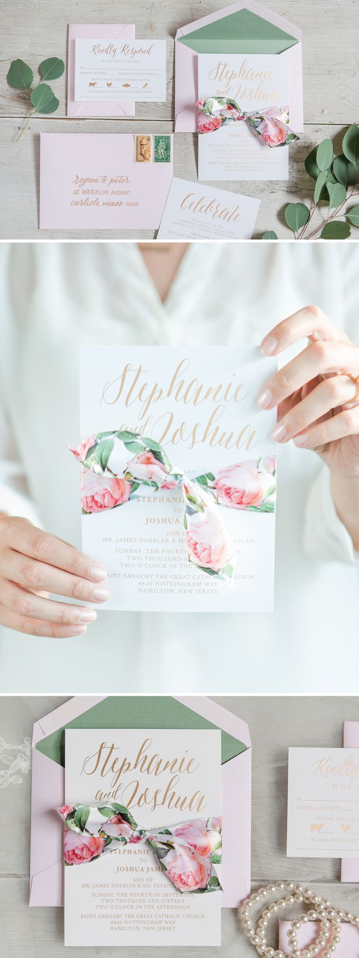 A romantic floral ribbon wedding invitation with blush roses, accented by touches of gold and eucalyptus green. Wedding Invitation by Penn…