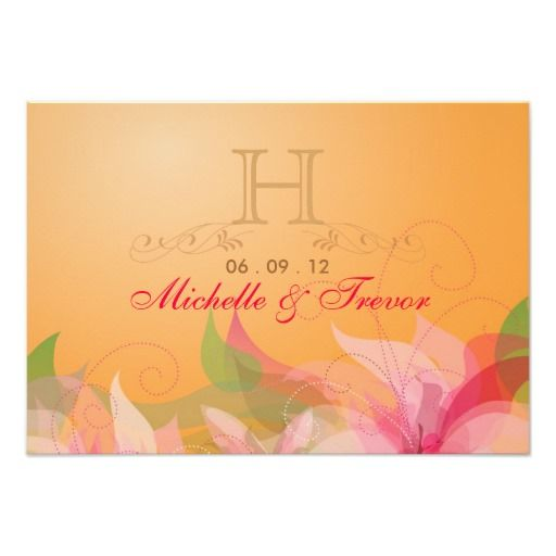 "RSVP - Tangerine Fall Wedding Reply Cards 3.5"" X 5"" Invitation Card"