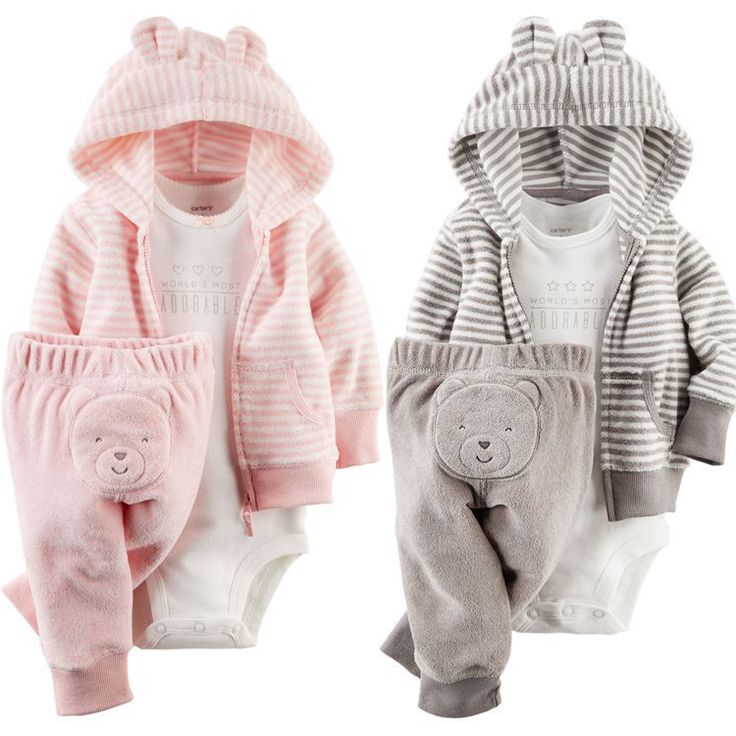 Snuggly twin outfits, pink for Snow, gray for Rain