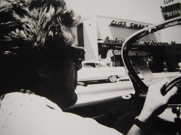 James Dean driving his porsche, 1955, reprint, before his accident, RARE.