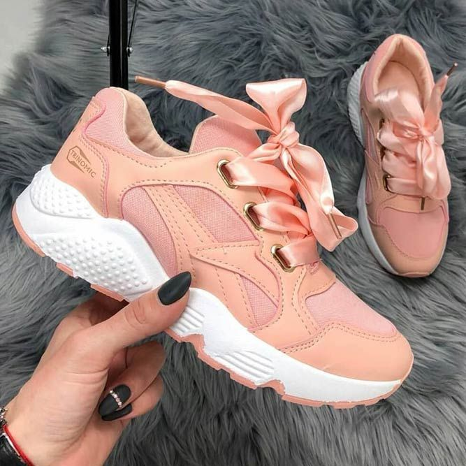 peach colour sneakers