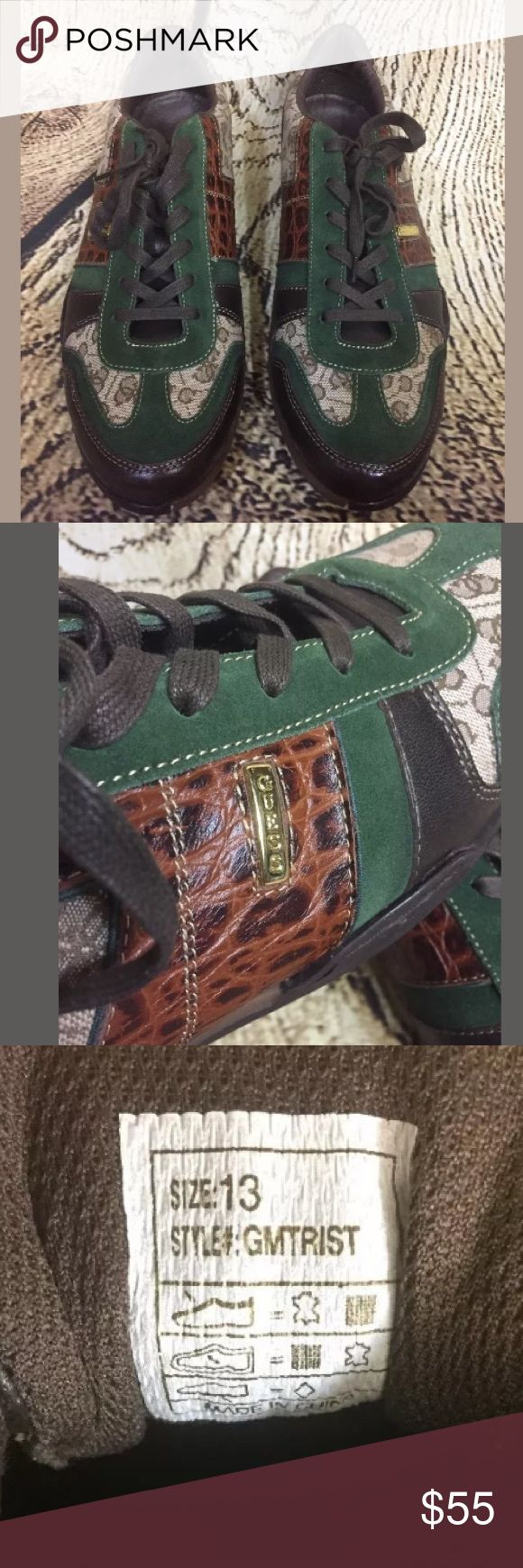 """👟👟Guess Sneakers NEW MENS GUESS BROWN/GREEN MED NATURAL LEATHER """"TRIST"""" SNEAKERS  SIZE 13Mb BRAND NEW NEVER WORN ONLY TO TRY ON Guess Shoes Sneakers"""
