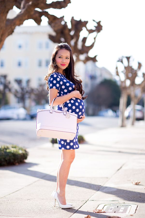 polka dot dress, cute maternity dress, asos, petite style, fashion blog, style by alina, petite fashion