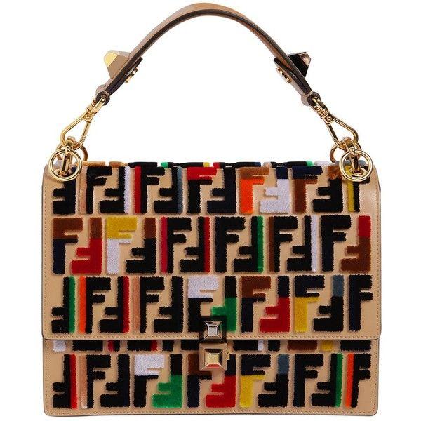 Fendi Women Medium Kan I Velvet Ff Logo Leather Bag ($3,995) ❤ liked on Polyvore featuring bags, handbags, shoulder bags, beige, studded leather handbags, fendi handbags, beige shoulder bag, leather shoulder bag and leather purses
