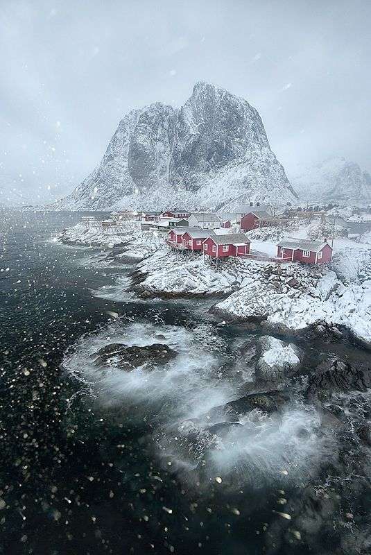 Hamnøy in Lofoten during a very snowy day. If you want the chance to explore the arctic , please check out www.lofotentours.com for phototours/workshops + additional information, itineraries and more pictures. Tourguides are Stian Klo and yours truly. Book your spot today at Lofoten Tours Website and be sure to follow us at  Facebook - Personal Facebook - Google+ -  Instagram