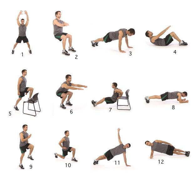 The Scientifically Proven 7-Minute Workout: Perform the following exercises for 30 seconds each, with 10 seconds of rest in between. Aim to perform 15 to 20 reps of each exercise within the 30-second span for a total of about seven minutes. Repeat entire circuit two or three more times if needed.
