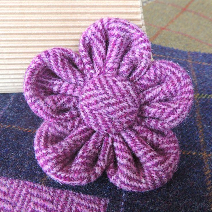 Beautiful Fabric Flower Brooch Harris Tweed by BN1BrightonMum