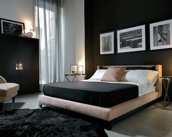 Masculine Modern Bedroom Dark Feature Wall