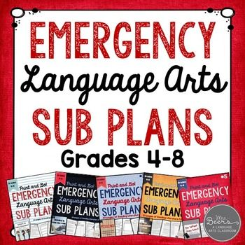 Emergency ELA Sub Plans because EMERGENCIES happen!This BUNDLE includes ALL of my Emergency Language Arts Sub Plans for Grades 4-8!  Over 100 pages and 10 days worth of reading literature and informational text fun for your students to work on in your absence!Why do you need EMERGENCY SUB PLANS?As a veteran teacher with three children I have learned that life happens.