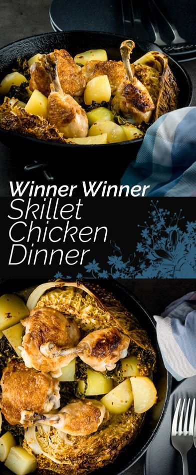 This skillet chicken dinner remind me of my childhood so much, chicken, potatoes and cabbage were always omnipresent whilst I was growing up! #chicken #chickendinner #chickenrecipes #recipe #recipeoftheday #skillet #skilletchicken #onepot