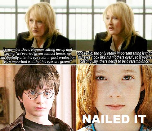 """Lily Potter casting - nailed it.  I can overlook some of the stuff they got wrong, but seriously, little Lily was in it such a short time they should have digitally altered her eyes especially since everyone in every movie kept saying """"you have your mother's eyes""""."""