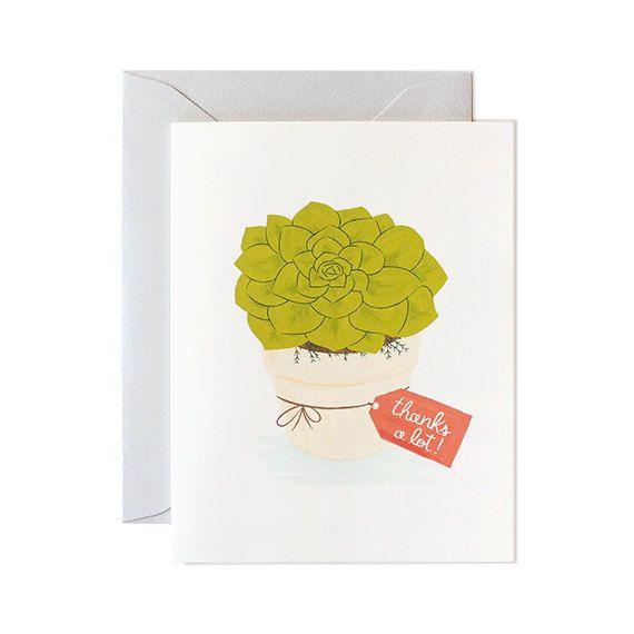 Thank You Card  thank you greeting card thinking by mydearfellowco