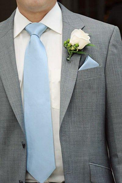 Purple tie and slightly darker grey suit