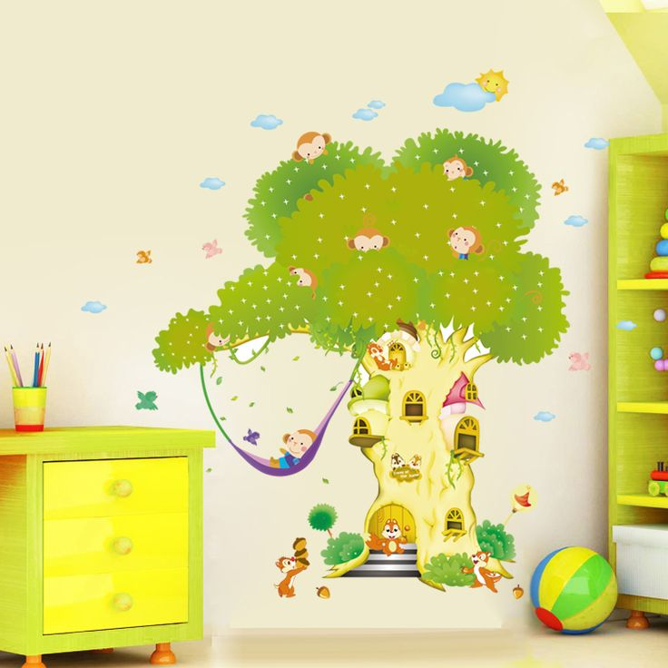 Cute cartoon wall stickers for kids rooms decoration large wall stickers home decor