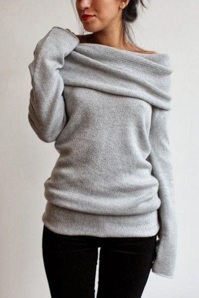 Comfy and cozy grey sweater fashion. Mmmmm so comfy.