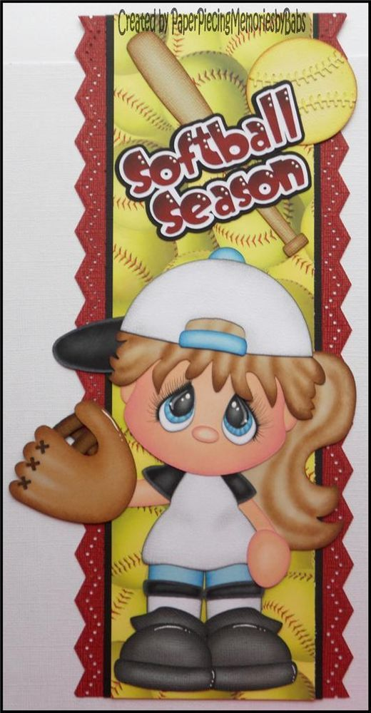 Premade Softball Season Girl Border Paper Piecing for Scrapbook Pages-By Babs
