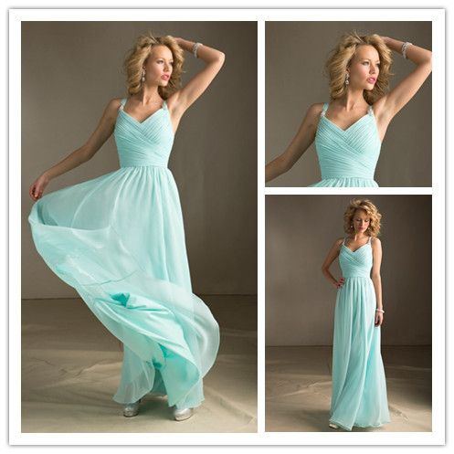 N ew Mint Green Bridesmaid Dresses Long Party Gown Chiffon Prom Party Gowns Under 100 Floor Length 2014 New Arrival $85.99