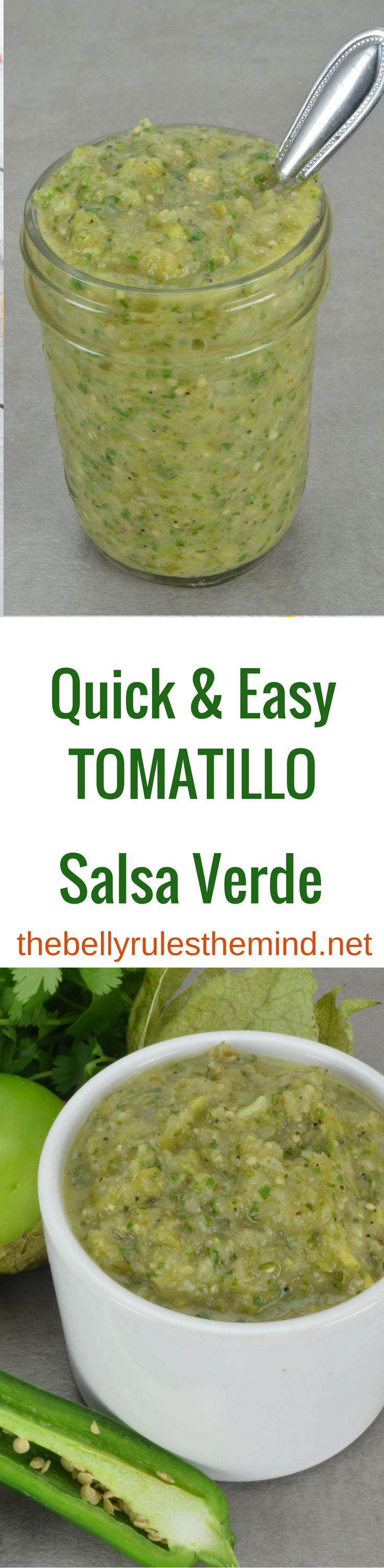 This Tomatillo Salsa Verde is one of my favorite recipes. EVER. It's so easy to make, packs a huge punch of tangy, zesty flavor and is so versatile, it can be used in countless dishes and recipes. It's also gluten free, vegetarian, dairy free and vegan!http://thebellyrulesthemind.net/2017/04/tomatillo-salsa-verde/
