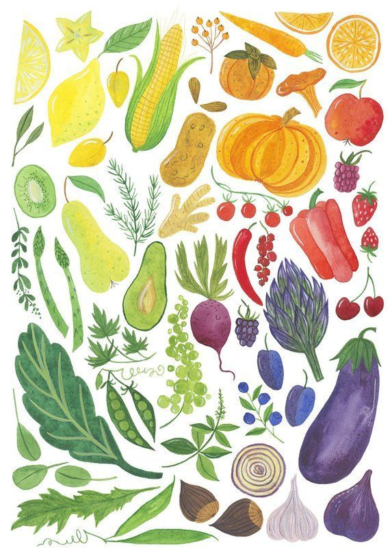 This Rainbow Veggie Art Print Comes In Rainbow Colors Fruit Vegetable And More Healthy Produce Its Based Veggie Art Vegetable Illustration Tattoos For Guys