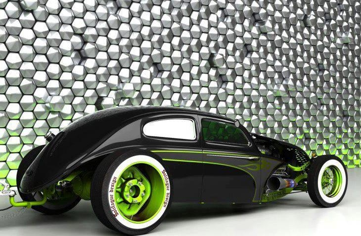 Nice custom roadster. I always have liked the gloss black with neon green look.