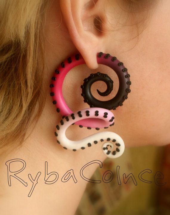 Fake ear tentacle gauge - Faux gauge/Gauge earrings/Tentacle plug/tentacle earrings /spiral gauge/ fake piercing - 29.83 - Etsy.com