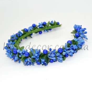 Ободок для волос с синими ягодами и тычинками